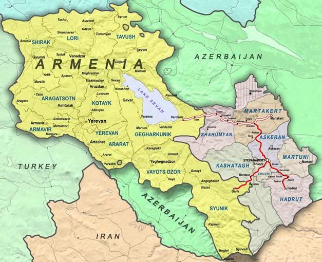 armenia mapa Más de la mitad de los habitantes de Artsaj elegiría la  armenia mapa