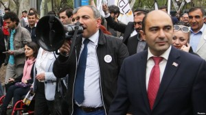 Members of 'Elq' Alliance hold their pre-election march in Yerevan, Armenia