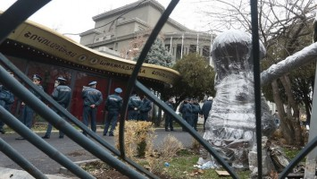 Dismantling of cafes near Opera House of Yerevan, Armenia